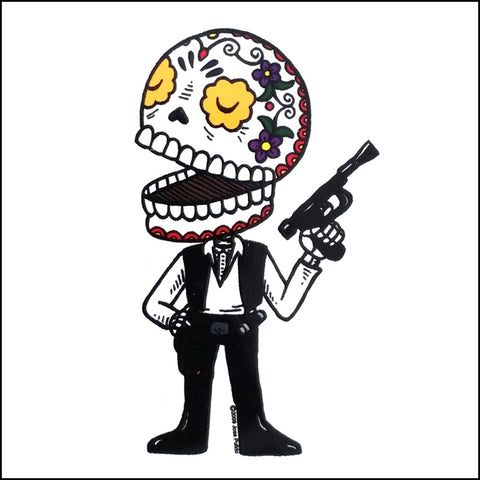 An image of a(n) Han Solo inspired  Day of the Dead sticker.