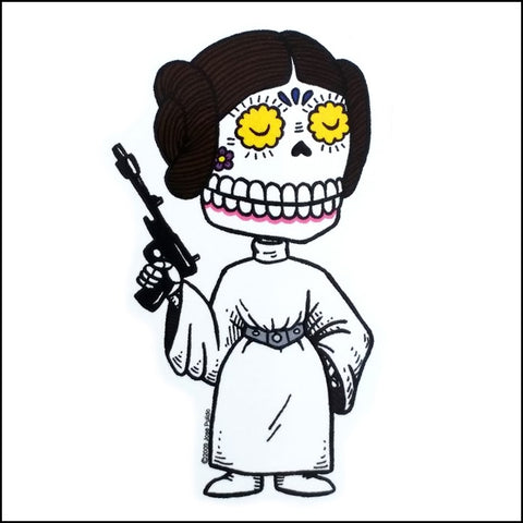 An image of a(n) Princess Leia inspired  Day of the Dead sticker.