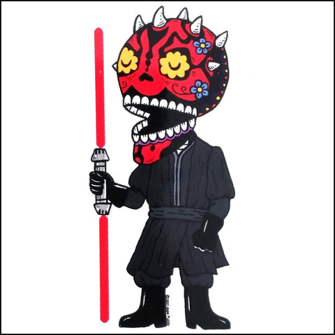An image of a(n) Darth Maul inspired  Day of the Dead sticker.
