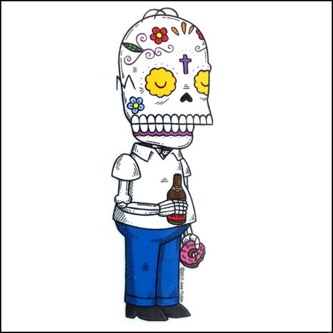 An image of a(n) Homer Simpson inspired  Day of the Dead sticker.