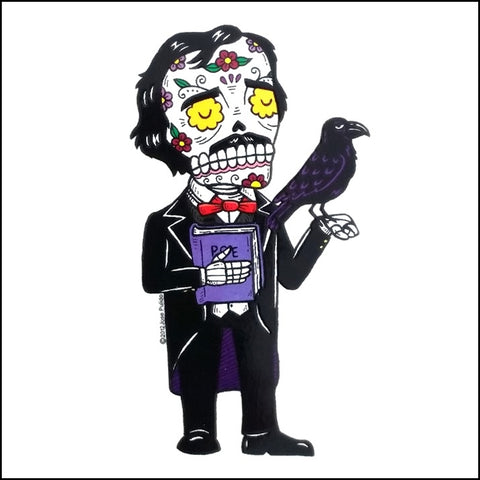 An image of a(n) Edgar Allan Poe inspired  Day of the Dead sticker.