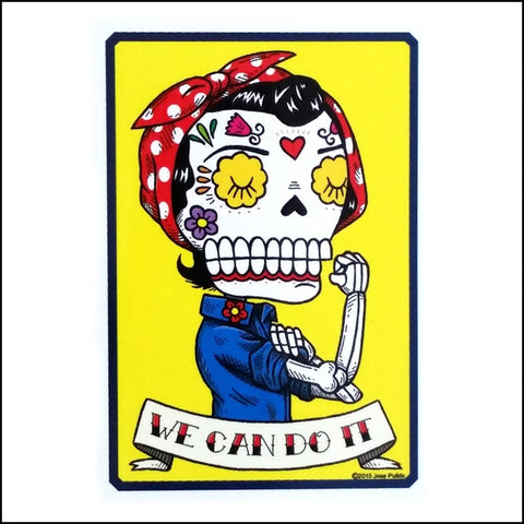 An image of a(n) Rosie The Riveter inspired  Day of the Dead sticker.