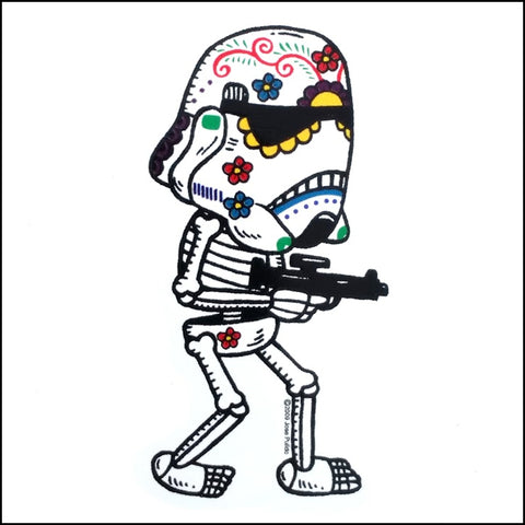 An image of a(n) Stormtrooper inspired  Day of the Dead sticker.