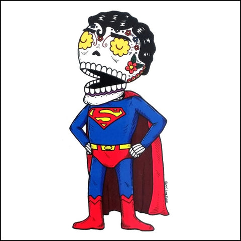 An image of a(n) Superman inspired  Day of the Dead sticker.