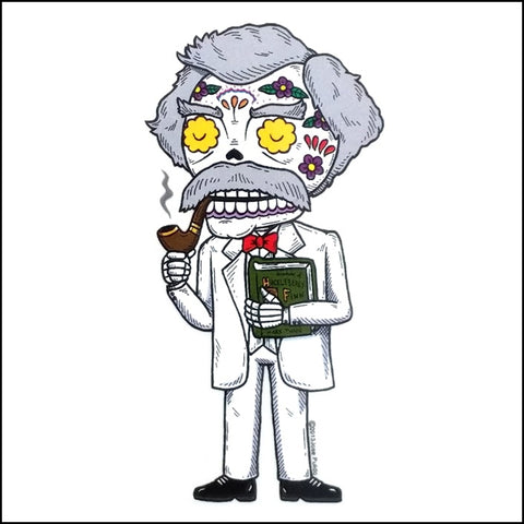 An image of a(n) Mark Twain inspired  Day of the Dead sticker.