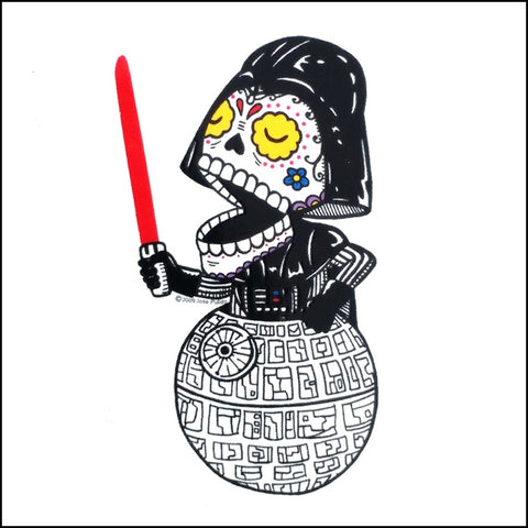 An image of a(n) Darth Vader - Death Star inspired  Day of the Dead sticker.