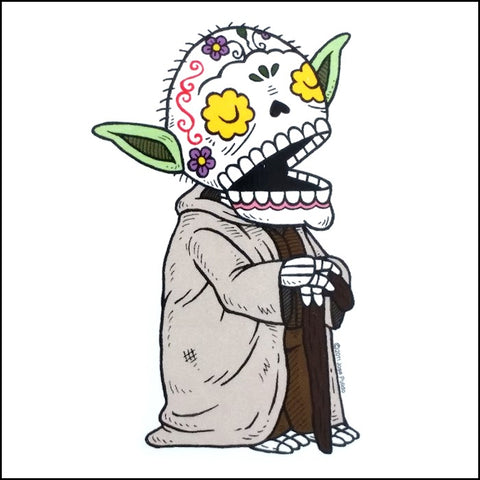An image of a(n) Yoda inspired  Day of the Dead sticker.