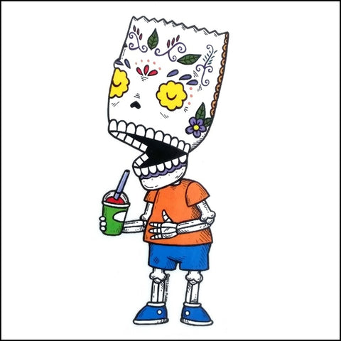 An image of a(n) Bart Simpson inspired  Day of the Dead sticker.