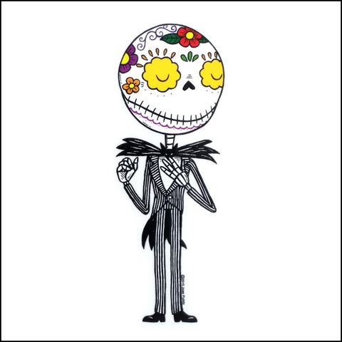 An image of a(n) Jack Skellington inspired  Day of the Dead sticker.