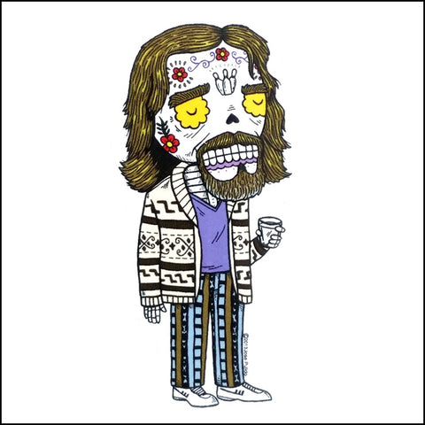 An image of a(n) The Dude inspired  Day of the Dead sticker.