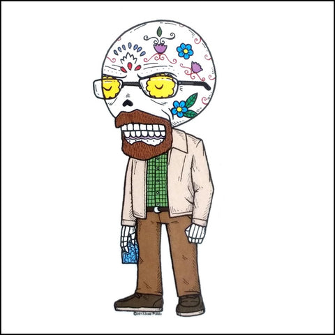 An image of a(n) Walter White inspired  Day of the Dead sticker.