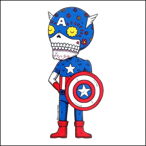 An image of a(n) Captain America inspired  Day of the Dead sticker.