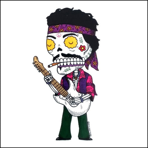 An image of a(n) Jimi Hendrix inspired  Day of the Dead sticker.