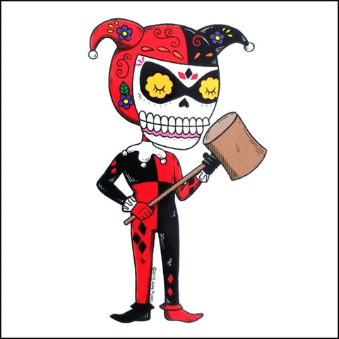 An image of a(n) Harley Quinn inspired  Day of the Dead sticker.