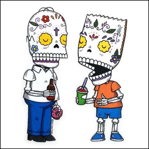 An image of a(n) Homer And Bart Simpson inspired  Day of the Dead sticker.