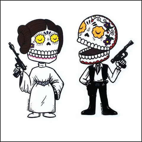 An image of a(n) Princess Leia And Han Solo inspired  Day of the Dead sticker.