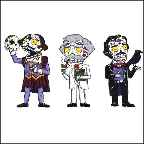 An image of a(n) Literary Trio inspired  Day of the Dead sticker.