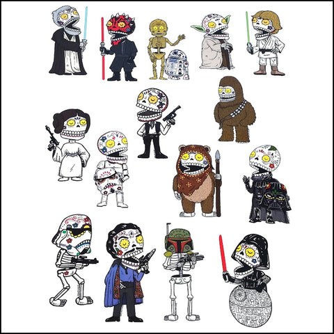 An image of a(n) Star Wars Darkside And Rebels Set inspired  Day of the Dead sticker.