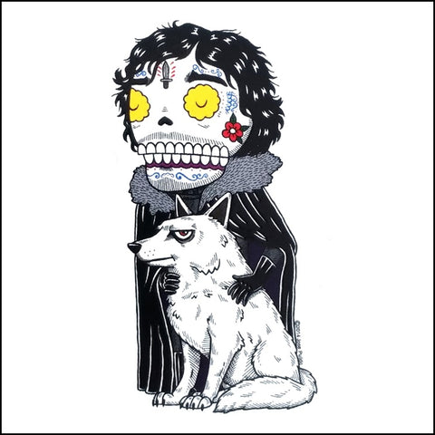 An image of a(n) Jon Snow inspired  Day of the Dead sticker.