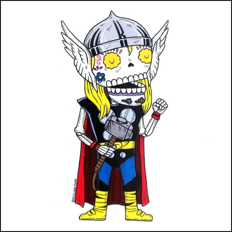 An image of a(n) Thor inspired  Day of the Dead sticker.
