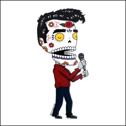 An image of a(n) Morrissey inspired  Day of the Dead sticker.