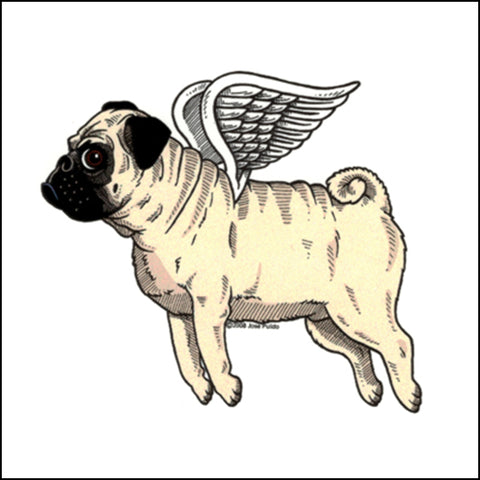 An image of a(n) Flying Pug inspired  Day of the Dead sticker.
