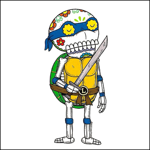 An image of a(n) TMNT Leonardo inspired  Day of the Dead sticker.