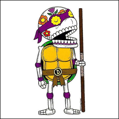 An image of a(n) TMNT Donatello inspired  Day of the Dead sticker.