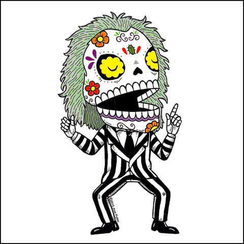An image of a(n) Beetlejuice inspired  Day of the Dead sticker.