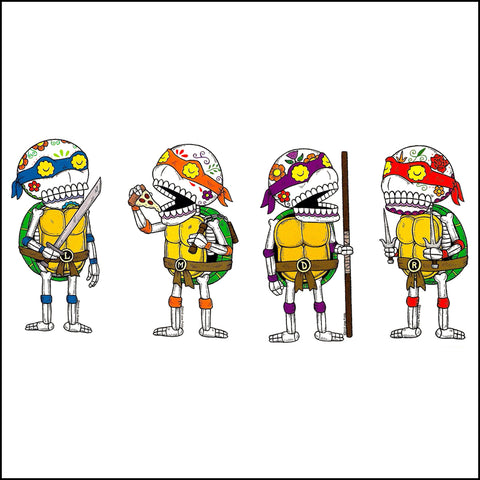 An image of a(n) TMNT Bundle inspired  Day of the Dead sticker.