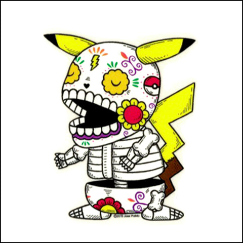 An image of a(n) Pikachu inspired  Day of the Dead sticker.