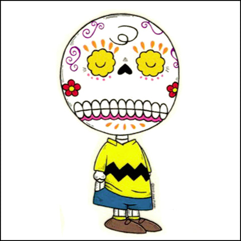 An image of an charlie brown inspired day of the dead sticker