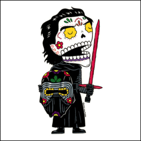 An image of a(n) Kylo Ren inspired  Day of the Dead sticker.