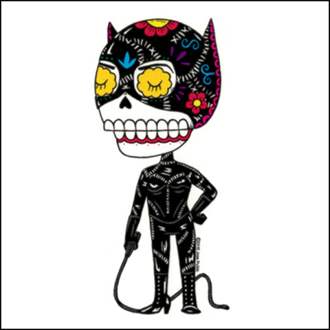 An image of a(n) Catwoman inspired  Day of the Dead sticker.