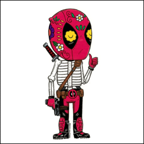 An image of a(n) Deadpool inspired  Day of the Dead sticker.