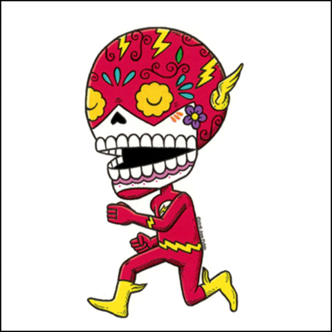 An image of a(n) The Flash inspired  Day of the Dead sticker.