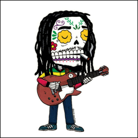 An image of a(n) Bob Marley inspired  Day of the Dead sticker.