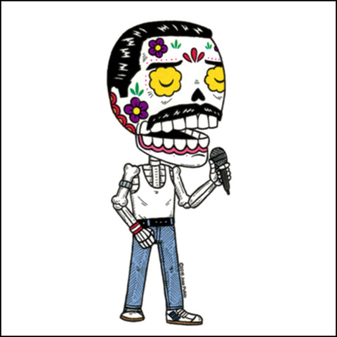 An image of an freddie mercury inspired day of the dead sticker
