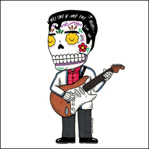 An image of a(n) Ritchie Valens inspired  Day of the Dead sticker.