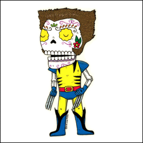 An image of a(n) Wolverine inspired  Day of the Dead sticker.