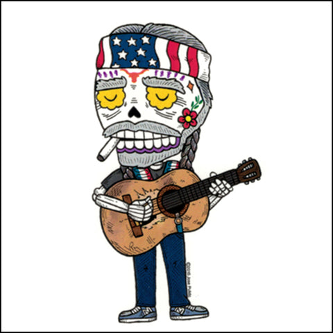 An image of a(n) Willie Nelson inspired  Day of the Dead sticker.