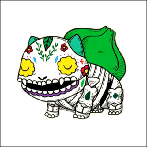 An image of a(n) Bulbasaur inspired  Day of the Dead sticker.