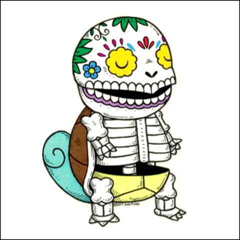 An image of a(n) Squirtle inspired  Day of the Dead sticker.