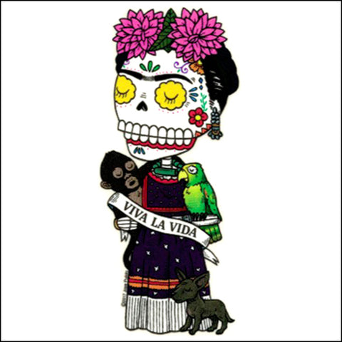 An image of a(n) Viva la Frida inspired  Day of the Dead sticker.