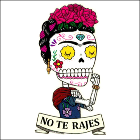 An image of a(n) Frida the Riveter inspired  Day of the Dead sticker.