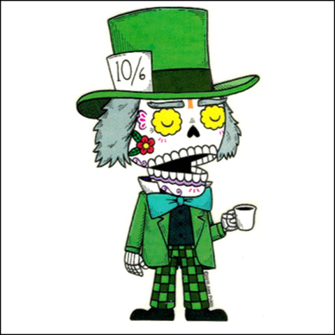 An image of a(n) Mad Hatter inspired  Day of the Dead sticker.