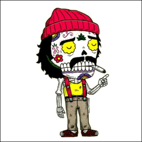 An image of a(n) Cheech inspired  Day of the Dead sticker.