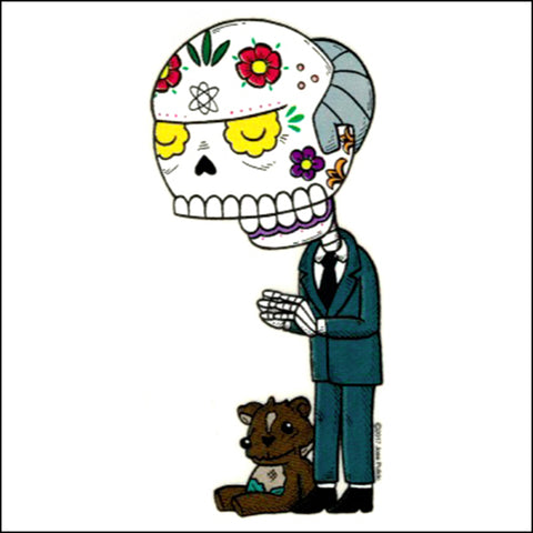 An image of a(n) Mr. Burns inspired  Day of the Dead sticker.