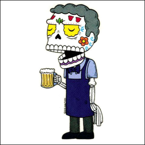 An image of a(n) Moe the Bartender inspired  Day of the Dead sticker.