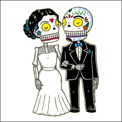 An image of a(n) Bride and Groom 2 inspired  Day of the Dead sticker.